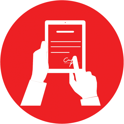 Red icon with hands holding a tablet and a finger signing on the screen