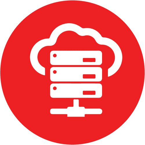 Red icon with a computer server and a cloud