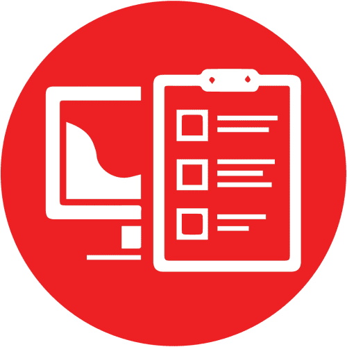 Red icon showing a computer and a clipboard with a checklist