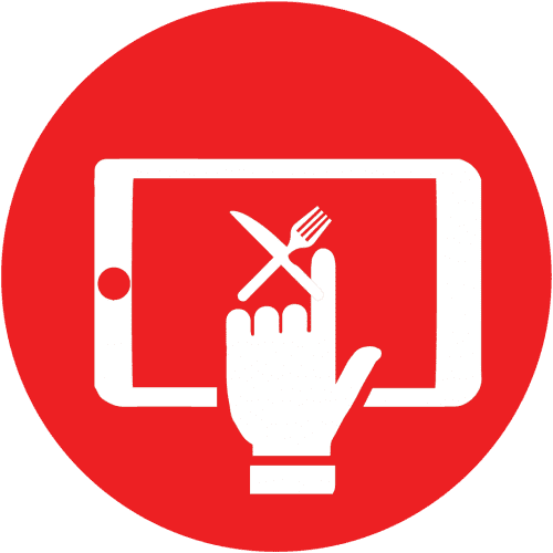 Red icon with a tablet displaying a fork and knife and a finger pressing the screen