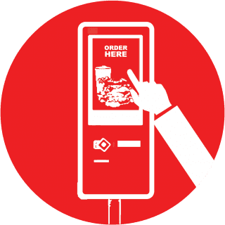 Icon with a finger touching the screen of aTRAY Self-Order Kiosk I