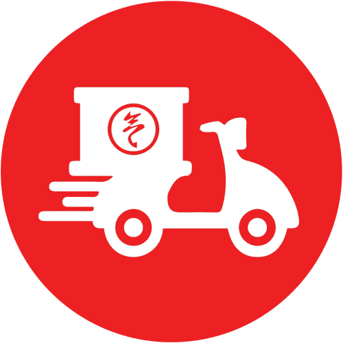 Red Icon with white food delivery vehicle
