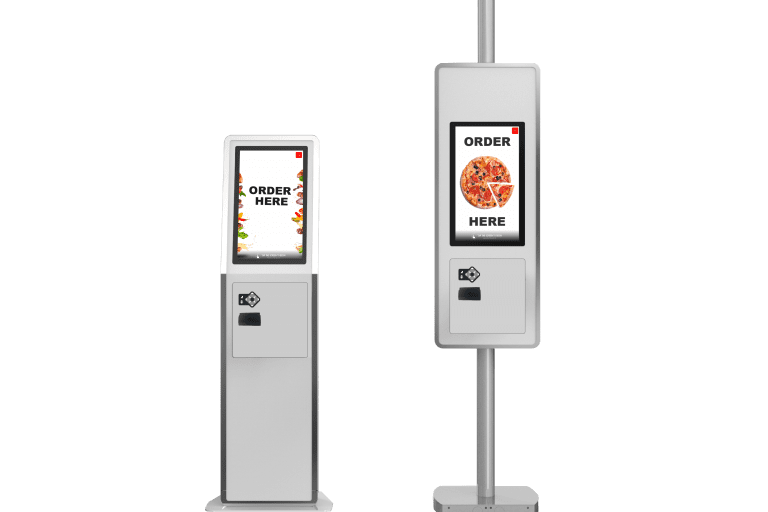 Freestanding Self-Service Kiosks featuring food images and order here text