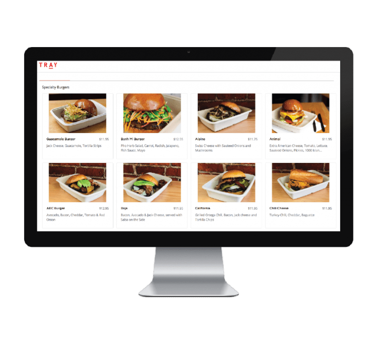 TRAY online ordering screen featuring menu items