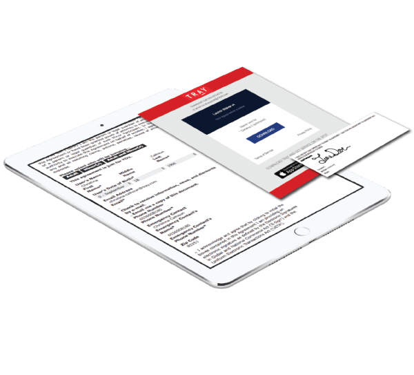 Electronic waiver captured on a tablet